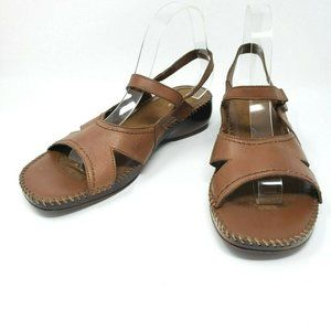 Isotoner Brown Leather Open Toe Wedge Sandals 9W
